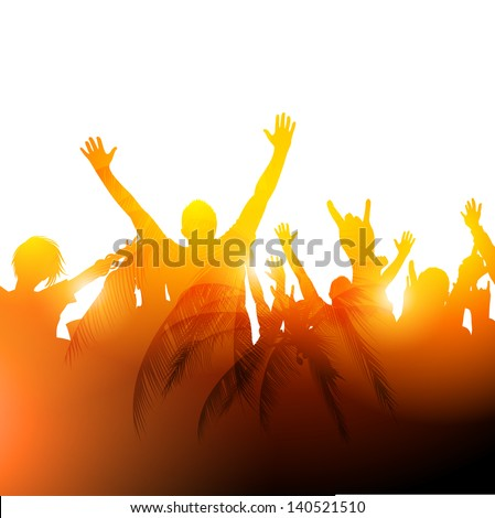 A crowd in warm sunshine. Vector Illustration. - stock vector