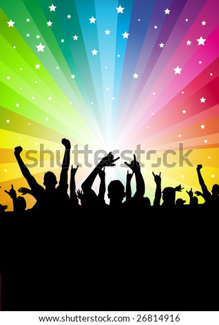 A crowd of people cheering. Vector illustration. - stock vector