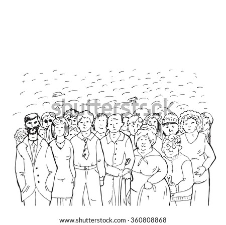 A crowd of people, sketch illustration of vector object or hand-drawn by black pen on a white background - stock vector