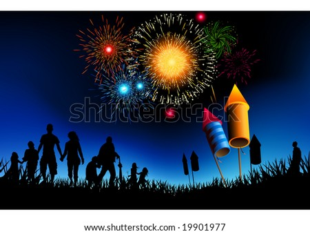 A crowd of people watching a fireworks display. - stock vector