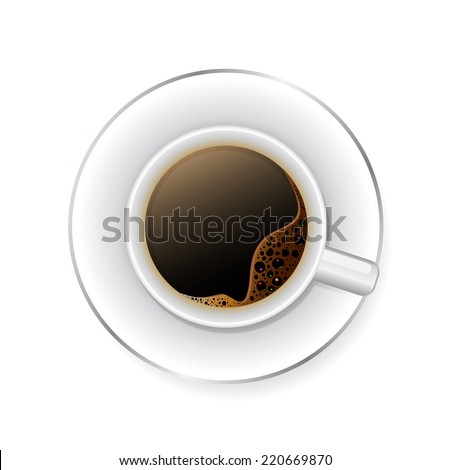 A cup of black coffee.Realistic vector
