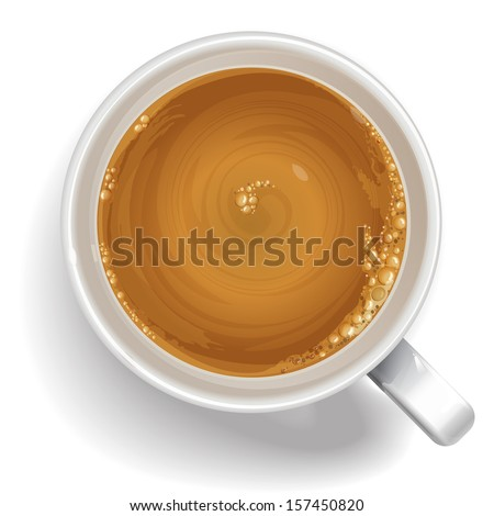 A cup of black coffee with milk, cappuccino, latte. Realistic vector - stock vector