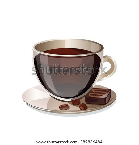 A cup of coffee isolated on white background. Transparent cup with black coffee and chocolate candy. Vector illustration. - stock vector