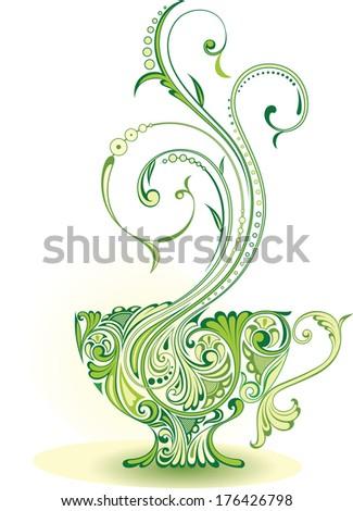 A cup of green tea - stock vector