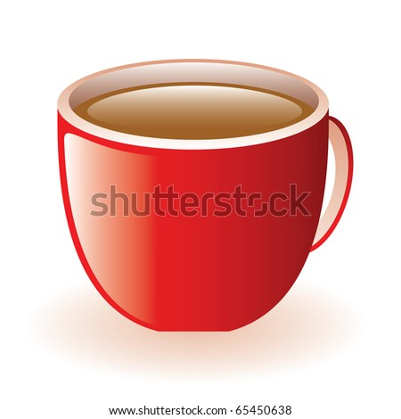 a cup of tasty coffee in red potty