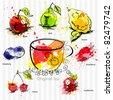 A cup of tea with fruit tea - stock vector