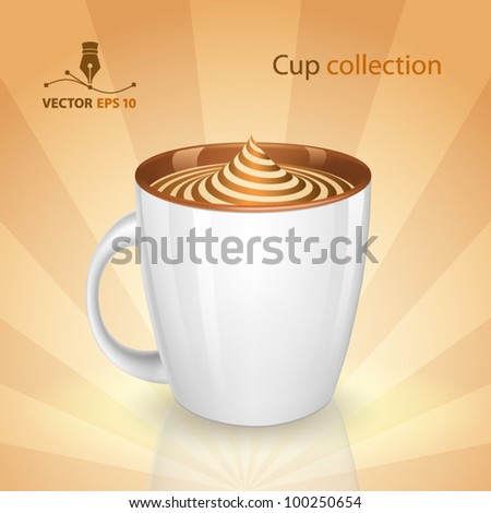 A cup with dessert - stock vector
