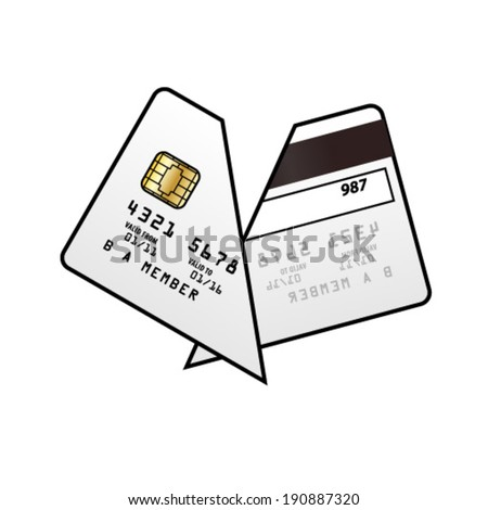 A cut up credit card. - stock vector