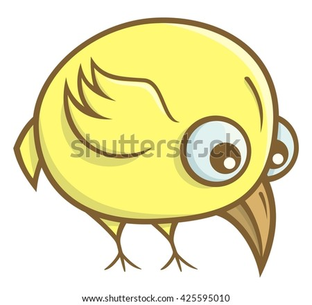 A cute and funny yellow bird cartoon isolated on white.