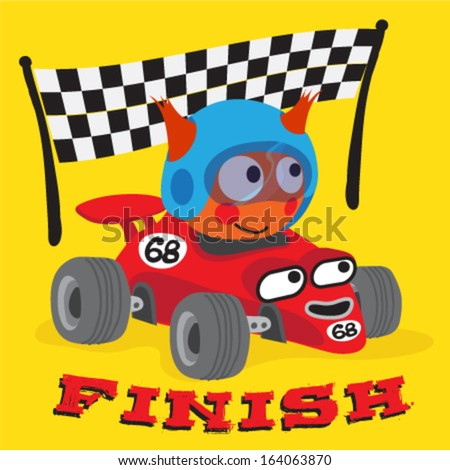 A cute animal driving a race car to success / Race Car vector - stock vector