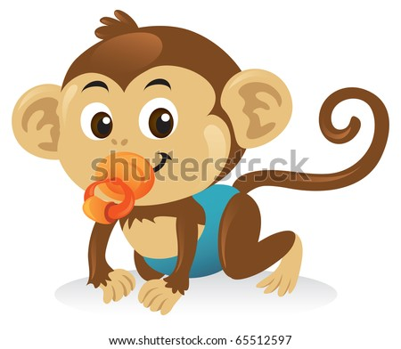 A cute baby monkey cartoon illustration with a pacifier. - stock vector