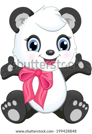 A cute baby panda with a tie. - stock vector