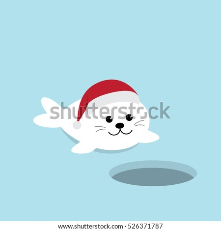 A Cute Baby Seal Pup cartoon character on blue background with Ice-hole invitation card. Harp seal pup  wearing Santa Claus hat flat design vector illustration.