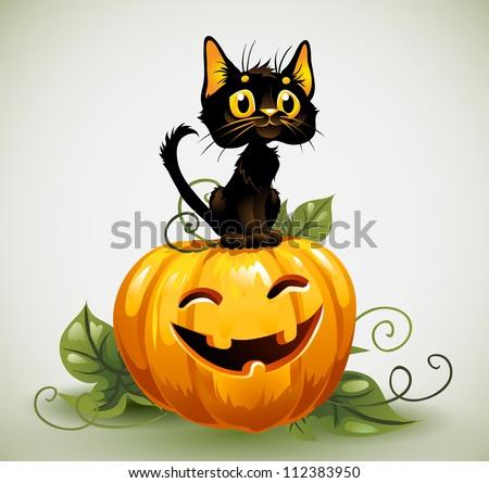 A cute black cat on a Halloween pumpkin. - stock vector
