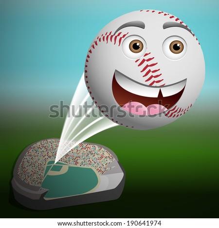 A cute cartoon baseball flying high out of the park - stock vector