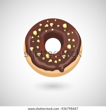 A cute cartoon donut with chocolate and nuts on a white background