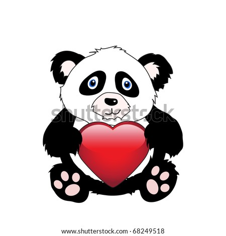 A cute cartoon panda holding a glossy heart isolated on white. EPS10 vector format with space for your text - stock vector