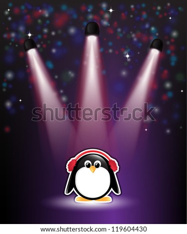 A cute cartoon penguin in earmuffs, with winter theme background of snow and stars. EPS10 vector format - stock vector