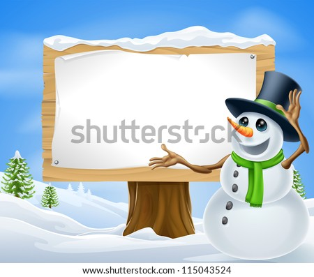 A cute cartoon snowman in Christmas winter scene with sign - stock vector