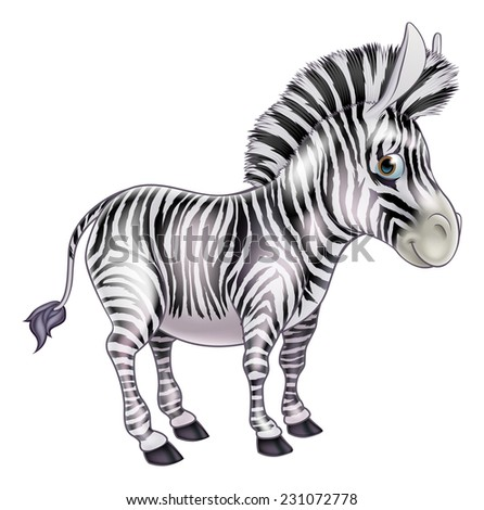 A cute childrens cartoon zebra animal character