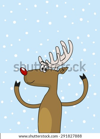 a cute Christmas deer over the snowy background - stock vector