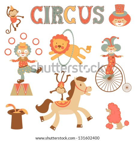 A cute  circus performance related items - stock vector