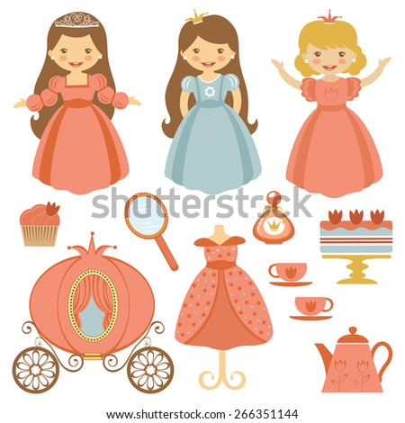 A cute collection of beautiful princesses and tea party elements - stock vector