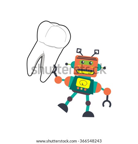 a cute colorful robot smiling and holding tooth