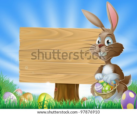 A cute Easter bunny rabbit character standing by a wooden sign holding a basket of decorated Easter eggs surrounded by Easter eggs in a field - stock vector