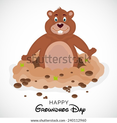A Cute groundhog out of a hole. - stock vector