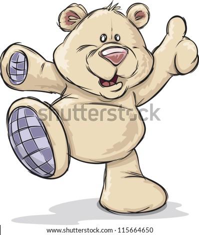 A cute happy cartoon teddy bear - stock vector