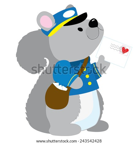 A cute little squirrel dressed like a postman is delivering a letter with a heart stamp - stock vector