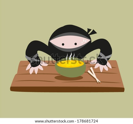 A cute Ninja smells the food  on the table. EPS10 Vector Illustration. - stock vector