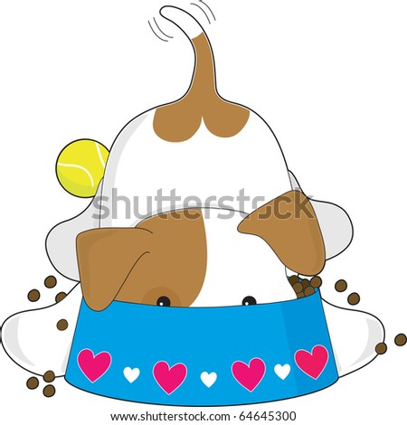 A cute puppy is eating his kibble from a bowl - stock vector