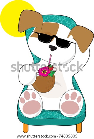 A cute puppy is relaxing in a lawn chair and enjoying a tropical drink - stock vector