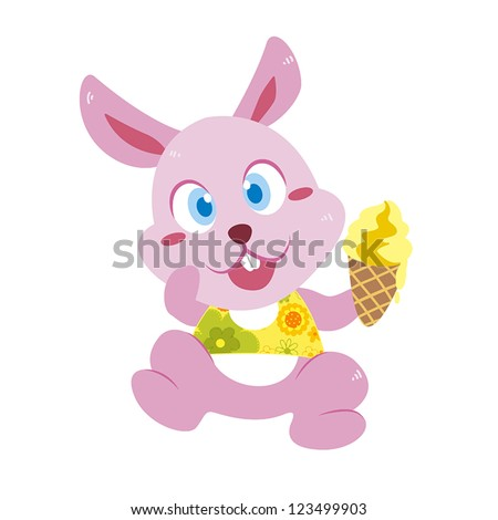 a cute rabbit eats an ice cream