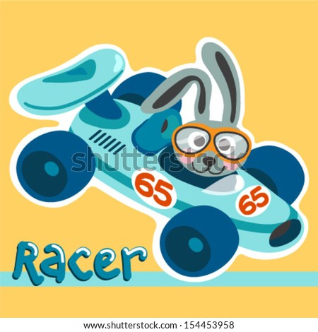 A Cute Race Car and a Rabbit illustration for baby style - stock vector