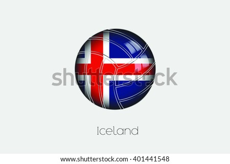 A 3D Football with a Flag Illustration of Iceland - stock vector