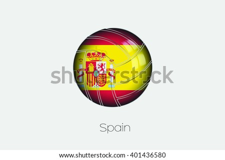 A 3D Football with a Flag Illustration of Spain - stock vector