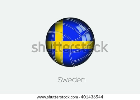 A 3D Football with a Flag Illustration of Sweden - stock vector