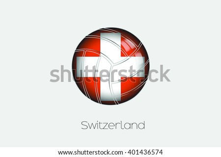 A 3D Football with a Flag Illustration of Switzerland - stock vector