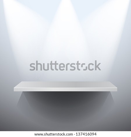 A 3D isolated vector empty shelf for exhibit - stock vector