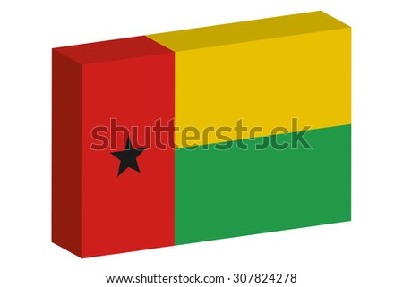 A 3D Isometric Flag Illustration of the country of  Guinea Bissau