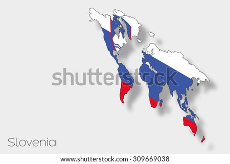 A 3D Isometric Flag Illustration of the country of  Slovenia