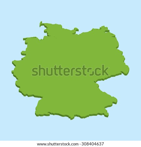 A 3D map on blue water background of  Germany