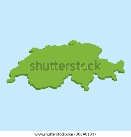 A 3D map on blue water background of Switzerland