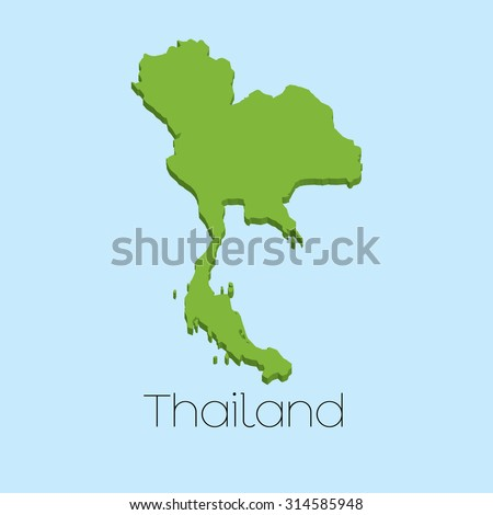 A 3D map on blue water background of Thailand - stock vector
