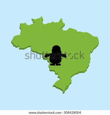 A 3D map on blue water with Santa background of Brazil - stock vector
