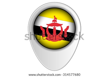 A 3D Map Pointer Flag Illustration of the country of  Brunei - stock vector