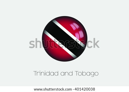 A 3D Orb with a Flag Illustration of Trinidad and Tobago - stock vector